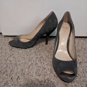 Medium gray peep toe heels